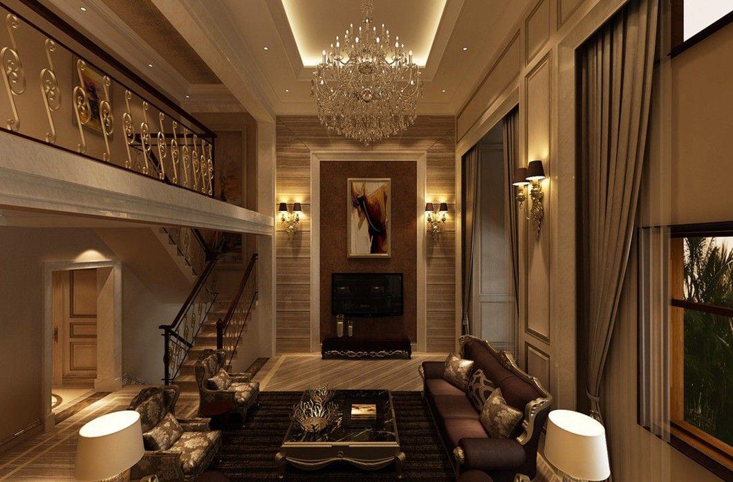 UAE Villa Living Room Interior Design Neoclassical Indoor Lighting