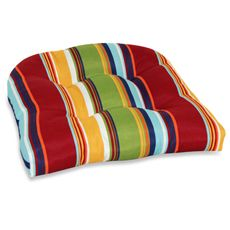 These are the colors I want for my powder coated outdoor chairs--Outdoor Single U Cushion - Bright Stripe