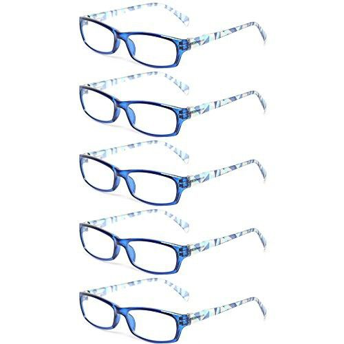f50d7450d99 Reading Glasses 5 Pairs Fashion Ladies Readers Spring Hinge with Pattern  Print Eyeglasses for Women (