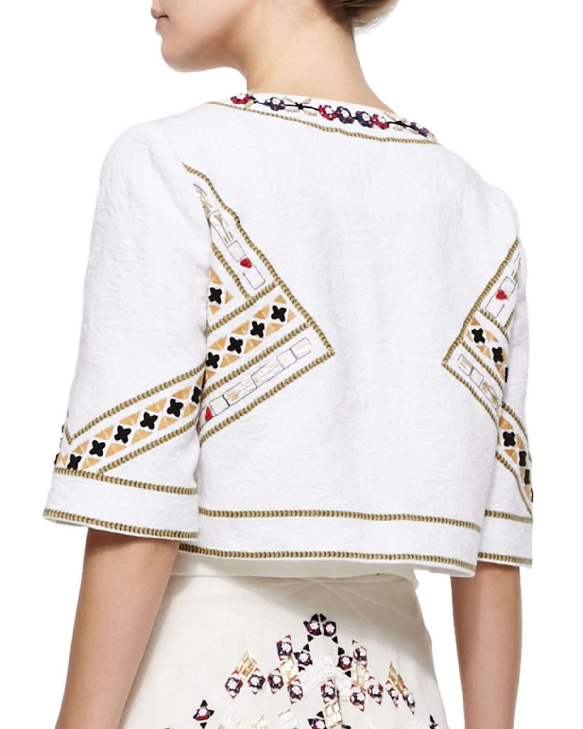 Billy Embroidered Cropped Open Jacket