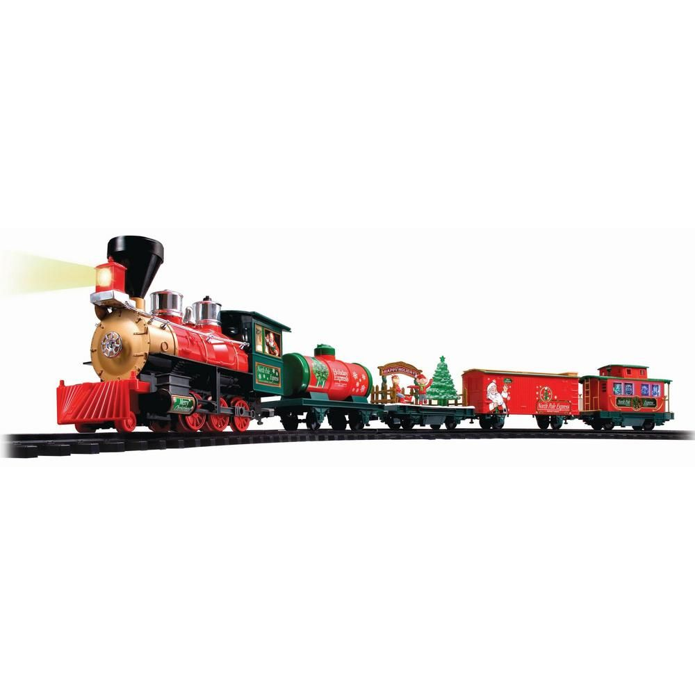 Eztec Battery Operated Wireless Remote Control North Pole Express Christmas Train Set 37297 The Home Depot Christmas Train Set Christmas Train North Pole Express