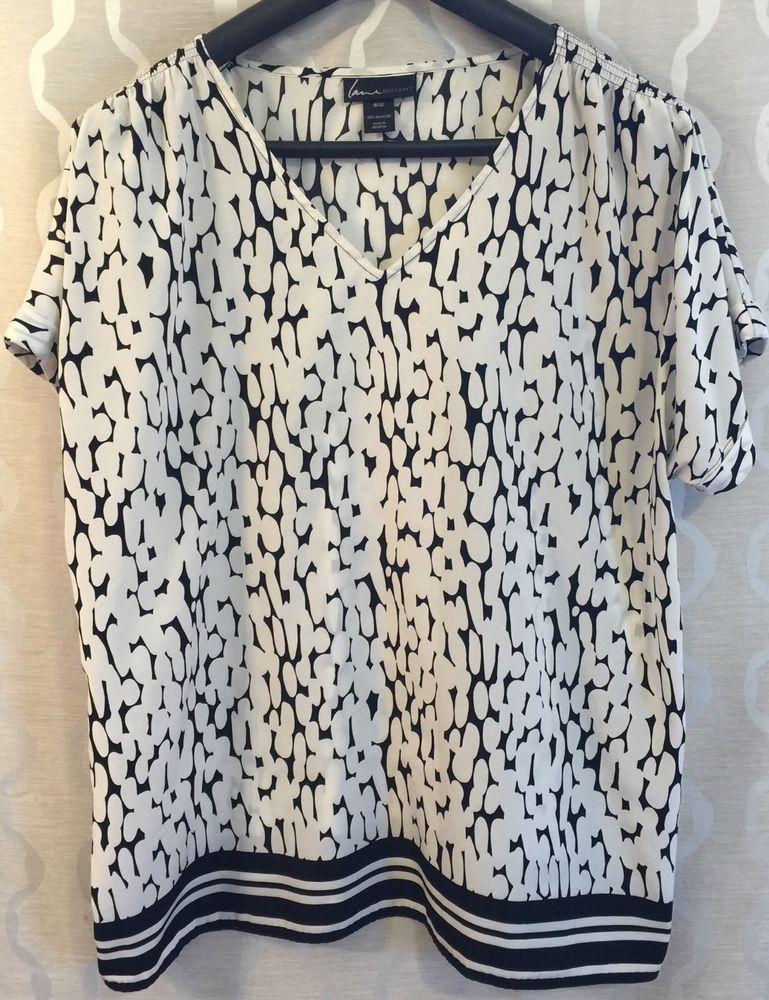 Lane Bryant Womens Plus Size 18/20 Black & White Mixed Print Flowy Blouse Shirt #LaneBryant #Blouse