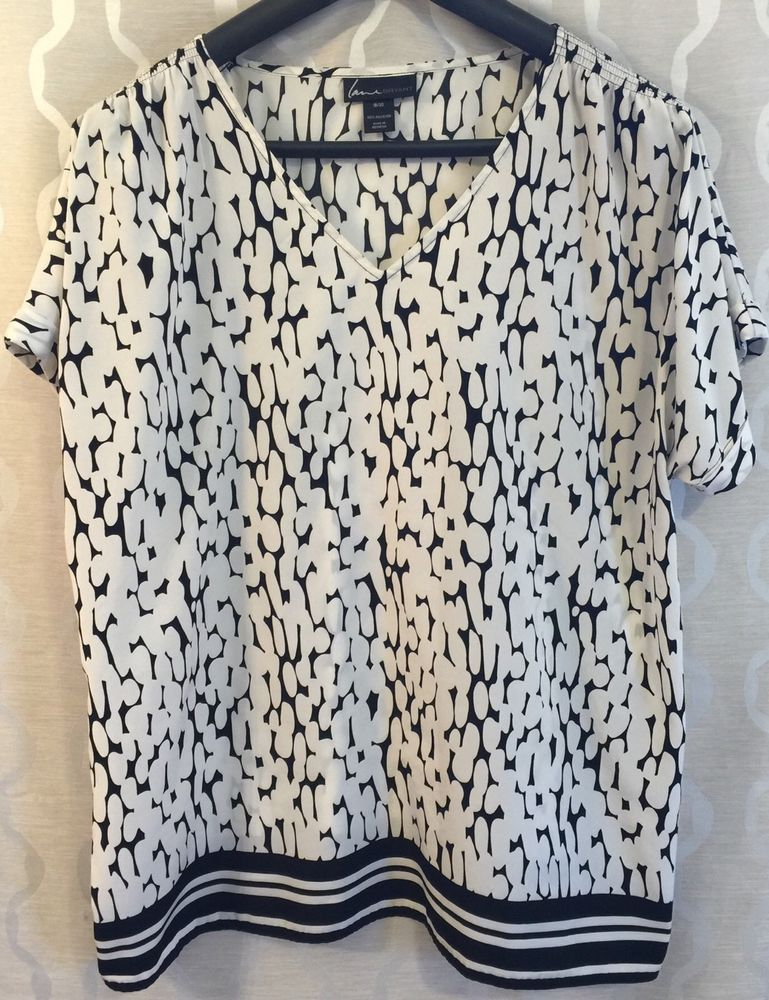 c2ed26d3d02 Lane Bryant Womens Plus Size 18 20 Black   White Mixed Print Flowy Blouse  Shirt  LaneBryant  Blouse
