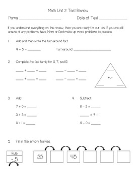 Everyday Math Unit 2 Review Everyday Math Second Grade Math First Grade Math