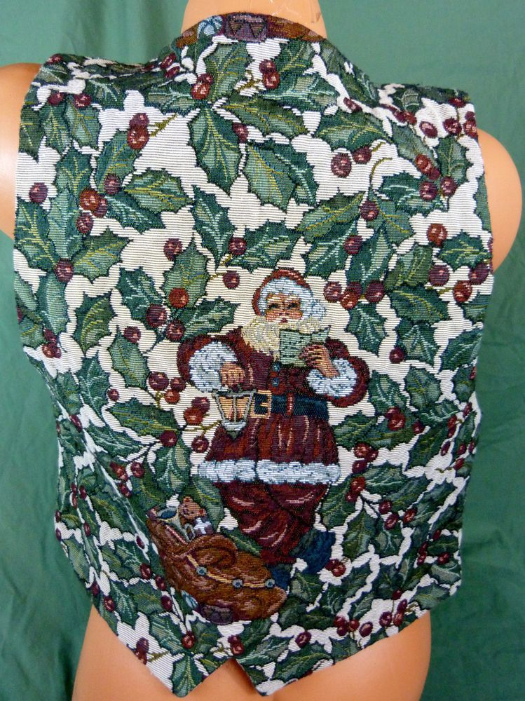 Christmas Party Ugly Vest Santa Clause Medium Lined Holly Button Front Green Vtg #tradationalTradingCo #Vest