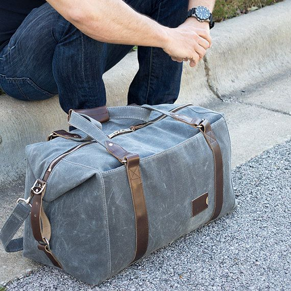 495 Weekender Bag, Personalized Duffle Bag in Slate Gray Waxed Canvas    Pre-Order Price  , Gym Bag, Flight Carry On Travel Bag b050e0a50c