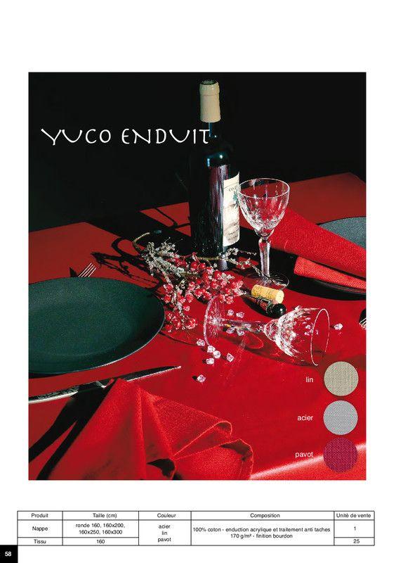 Nappe yuco Enduite 100% coton enduction acrylique et traitement anti-taches 170 g/m2, finition bourdon