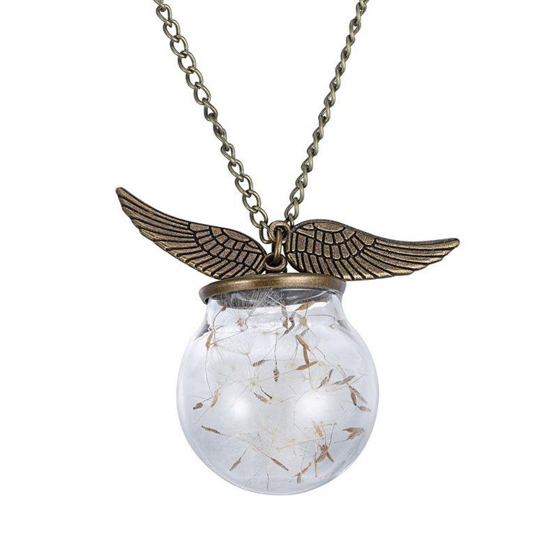 Творческие ангельские крылья стеклянные бутылки кулон встроенный природный одуванчик естественно семян растений ожерелья оптовая продажа купить на AliExpress