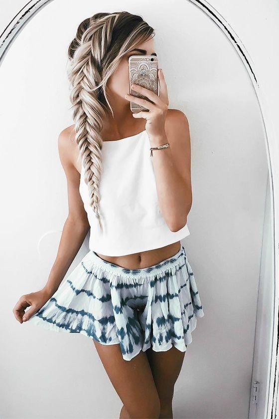 Wayside Wanderer Mint Tie Dye Shorts Long Hair Styles Hair