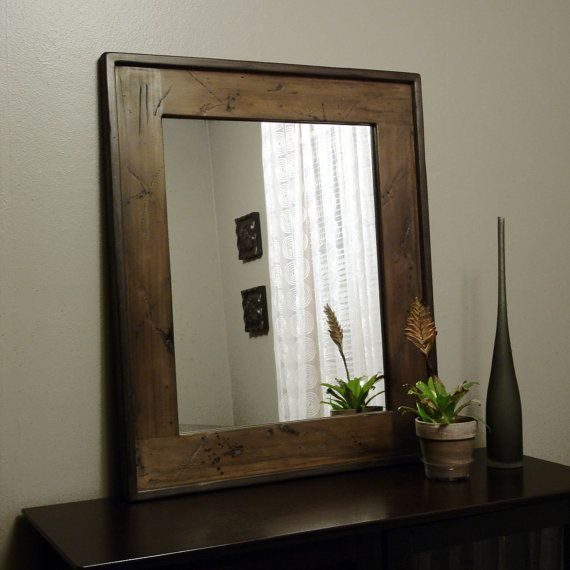 Rustic Mirror Distressed Wood Barnwood Brown Frame Usa How To Distress Wood Distressed Wood Wall Wood Mirror