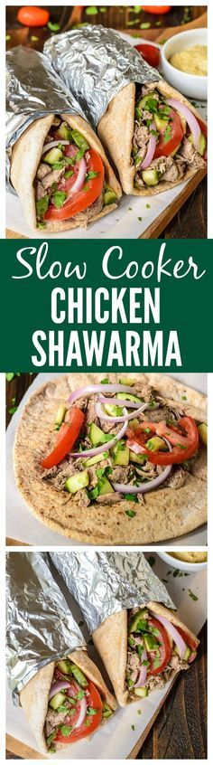 Slow Cooker Chicken Shawarma. So moist and tender. Your entire family will love this easy crock pot chicken recipe made with Greek yogurt and spices.