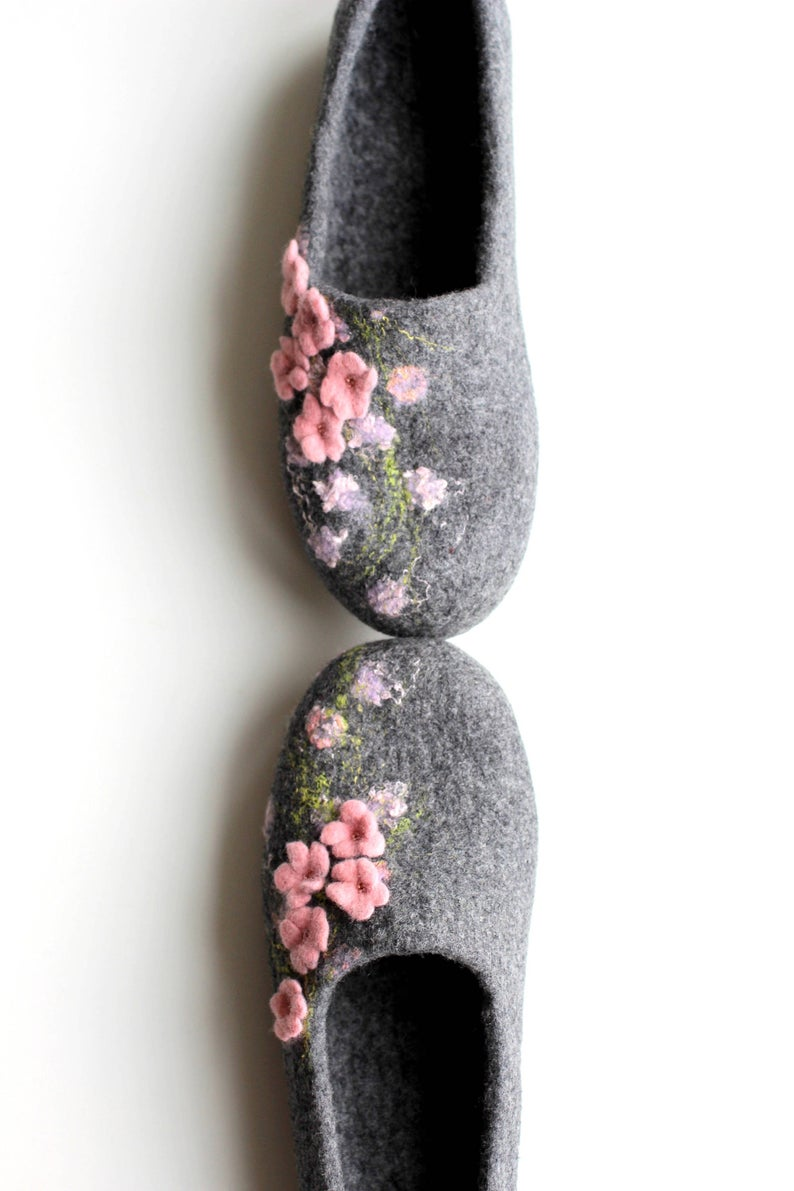 Photo of Mothers day Slippers women felted slippers gray house shoes pale pink flowers custom slippers gift for her felt shoes wool home slippers