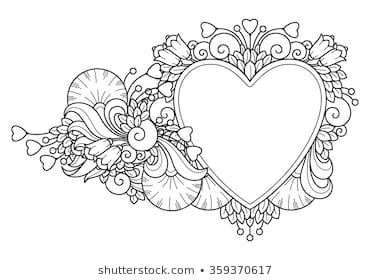 Decorative Love Frame Composition With Hearts Flowers Ornate