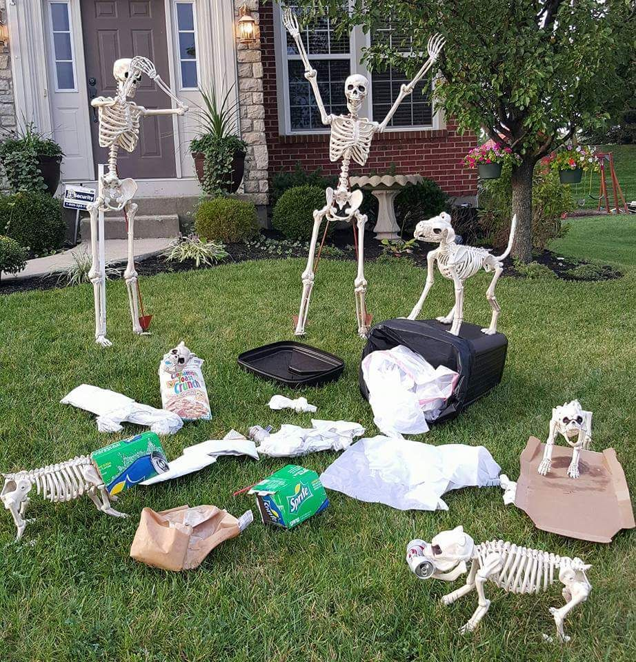 An Awesome And Funny Halloween Horror Skeleton Scene Doggo Skeletons In The Trash And Human Halloween Outdoor Decorations Halloween Diy Outdoor Halloween Yard