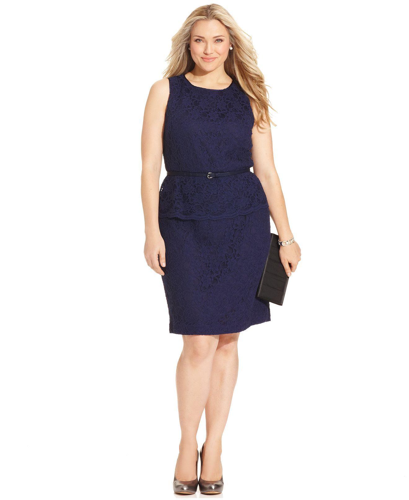 Jones New York Plus Size Dress, Sleeveless Belted Lace ...
