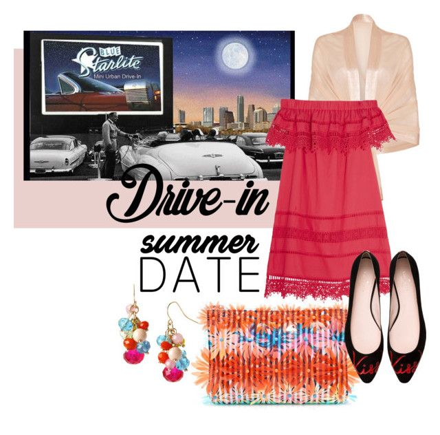 """A summer date in the Drive-in"" by prettykittyzola ❤ liked on Polyvore featuring J.Crew, Ghost, Sea, New York, Mixit, Kate Spade, DateNight, drivein and summerdate"