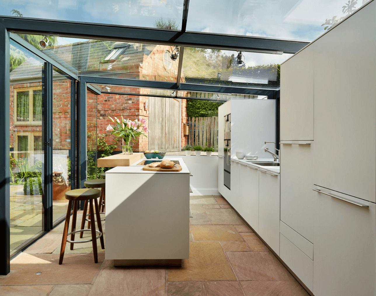 Entzuckend Ein Glaskubus Für Eine Küche Wunderschöne Bulthaup Einrichtung Weisse  Fronten Verstärken Den Lichten Eindruck Eine Große
