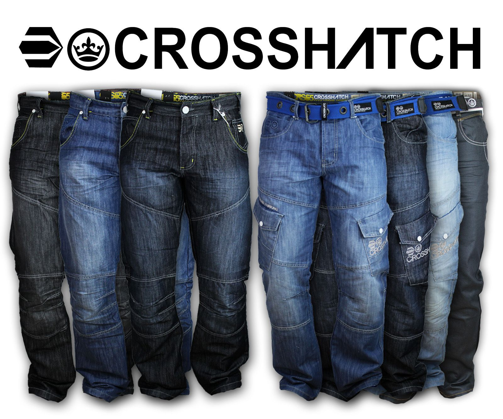 Men's Jeans | Mens Jeans Crosshatch Denim Pants Cargo Combat ...