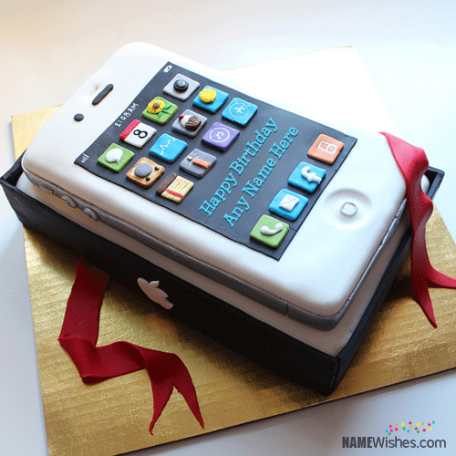 iPhone Shaped Birthday Cake With Name Cakes Pinterest