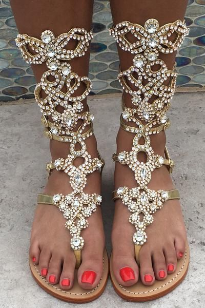 Oh My Goodness Gladiator Gold w Clear Stones By Mystique in