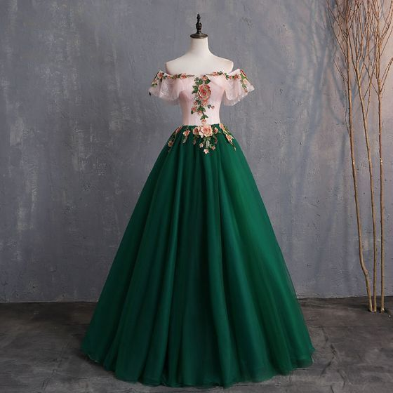 Ball Gown Appliques Lace Off-The-Shoulder Short Sleeve Backless Floor-Length / Long Formal Dresses 12