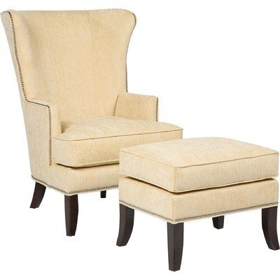 Fairfield Chair Transitional Wingback Chair And Ottoman Color: Linen