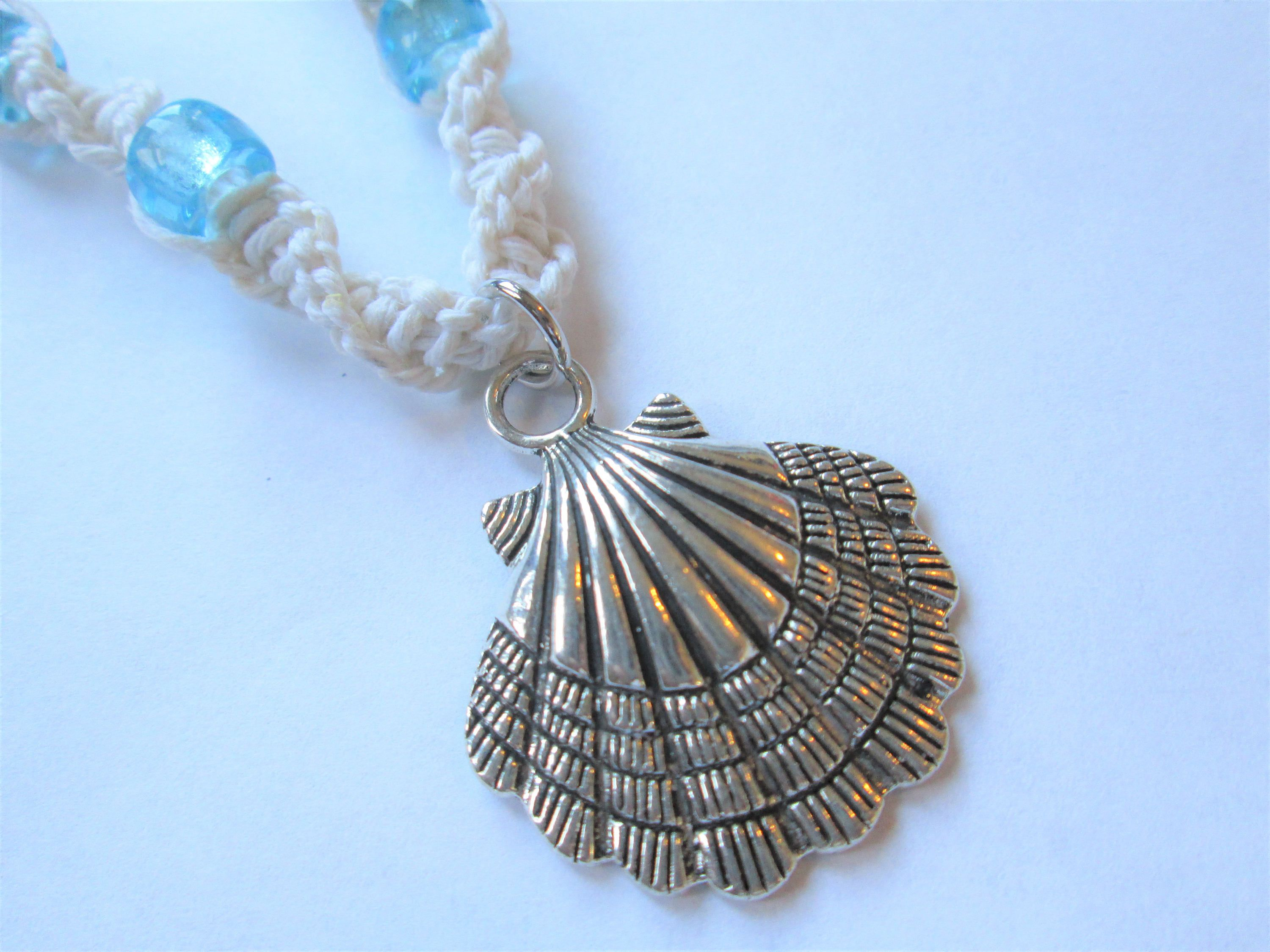 Shell silver shell charm with blue glass beads on handmade hemp shell silver shell charm with blue glass beads on handmade hemp necklace boho beach mozeypictures Images