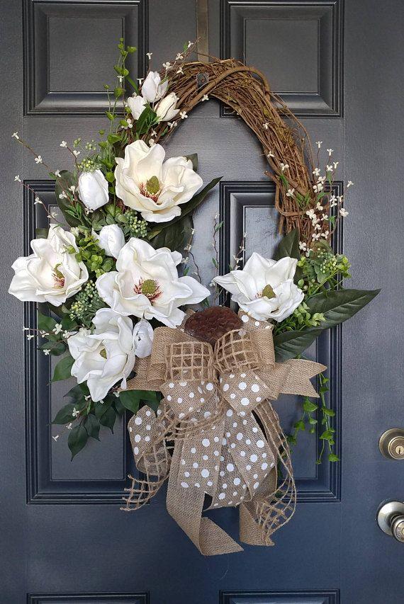 SIGNATURE MAGNOLIA WREATHSpring Magnolia WreathGrapevine #craftstosell