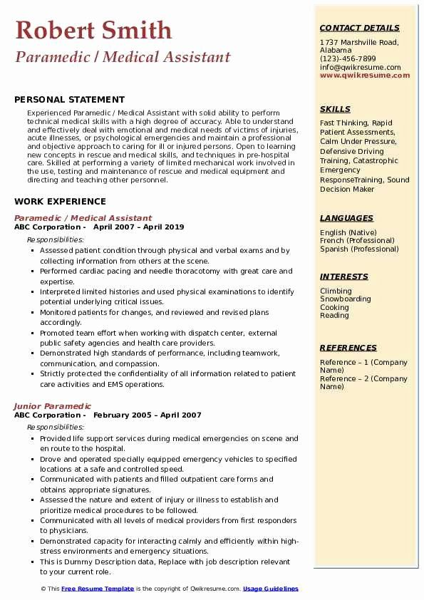 20 Emt Job Description Resume With Images Job