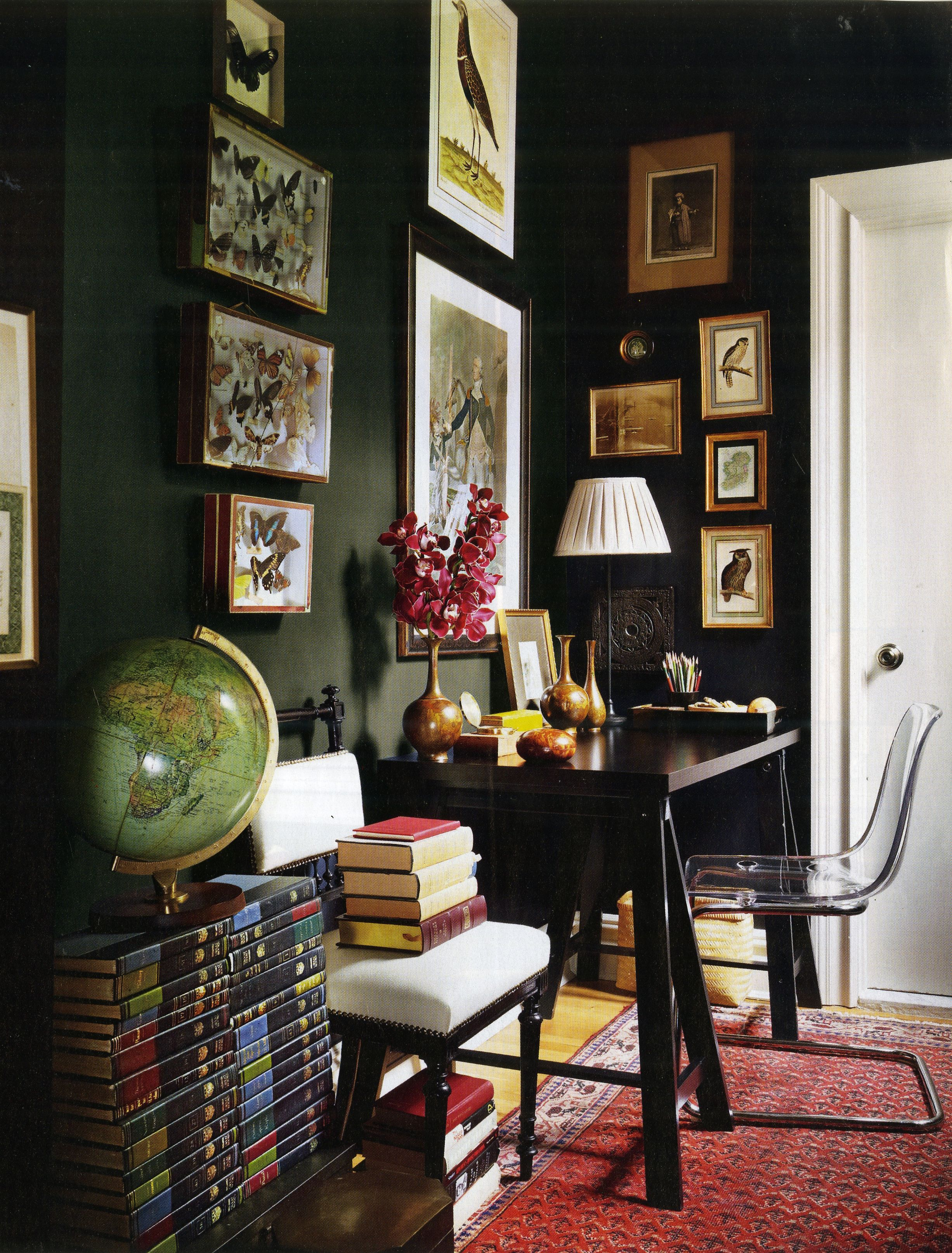 Dark Green Walls With White Trim Black Wall Decor Home Office