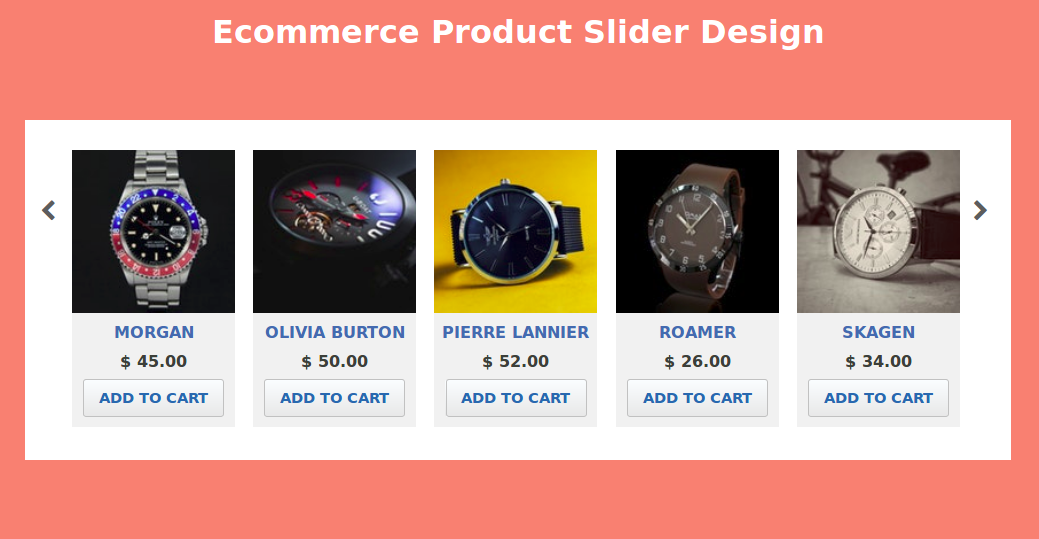 Carousel Product Slider Example Usign html,css Html css