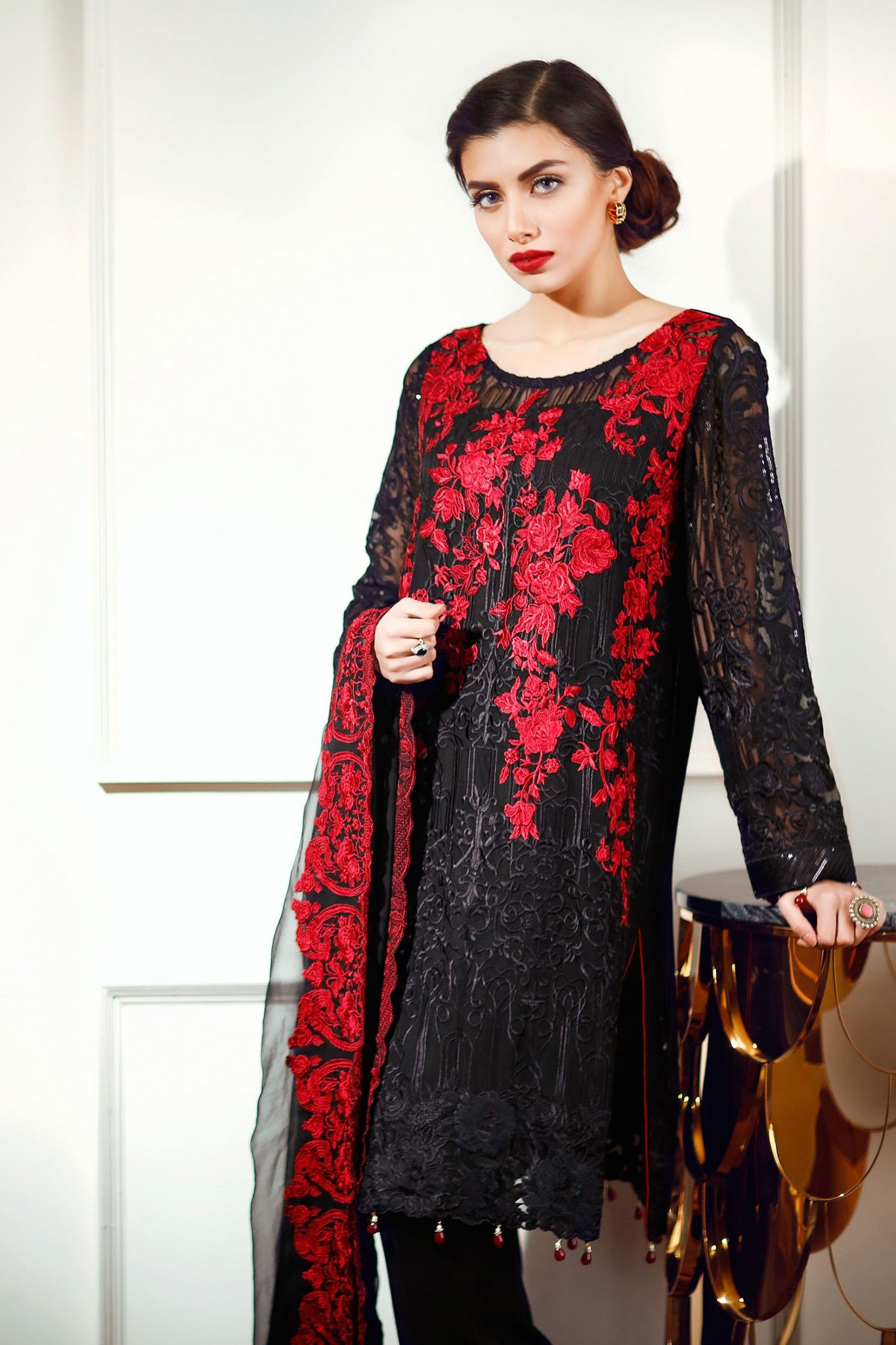 6344a97b63 Latest Chiffon Eid Dresses 2017 In Red and Black Color | Pakistani ...