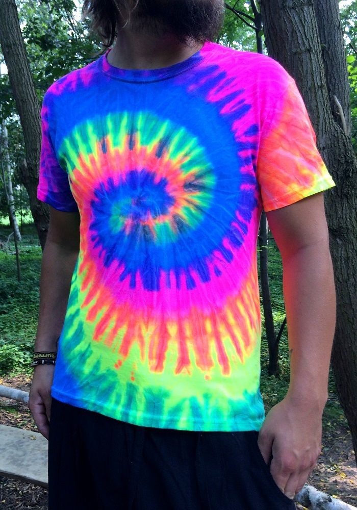 Moot shirts neon swirl colorful neon tie dye t for Types of tie dye shirts