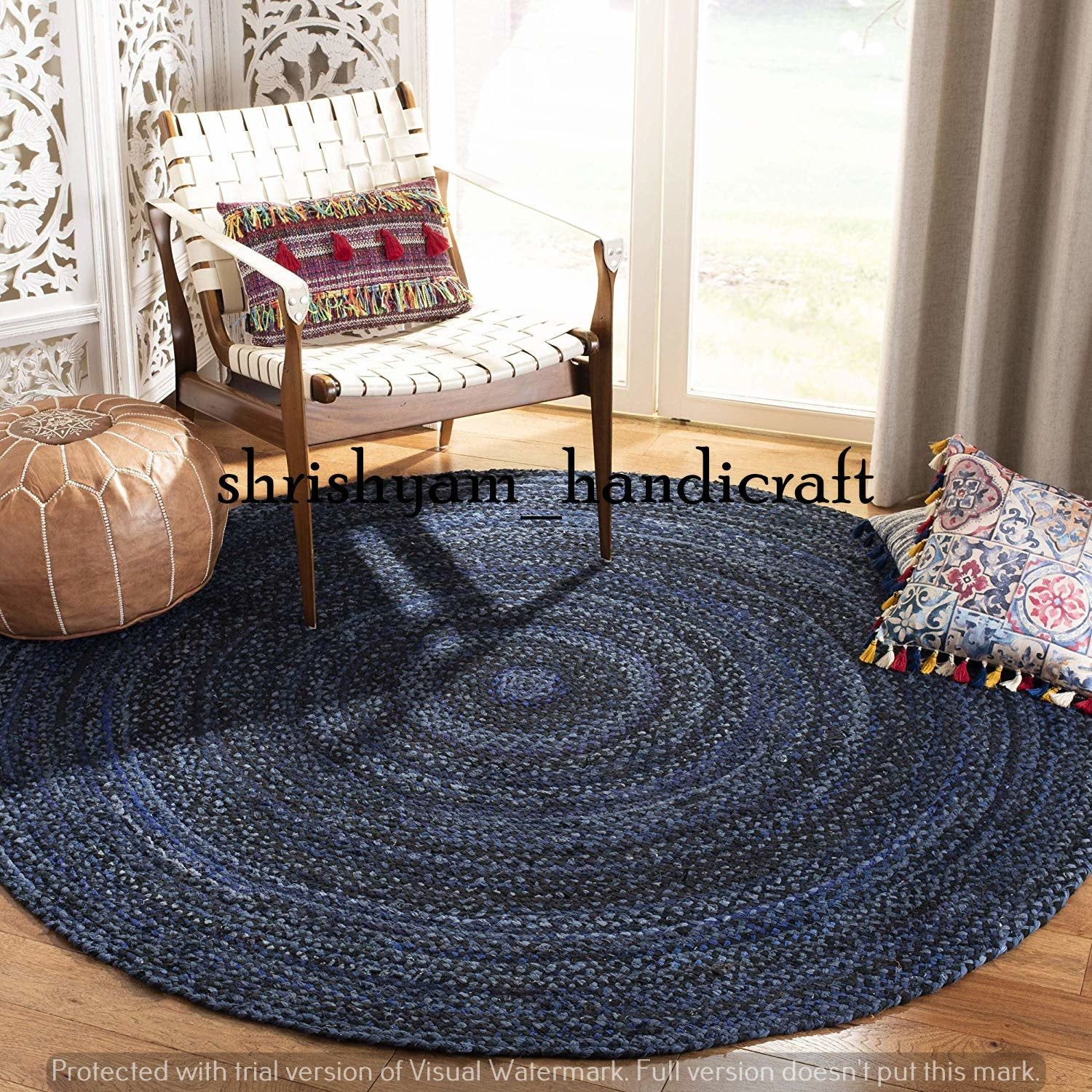 Braided Rug Carpet Bohemian Colorful