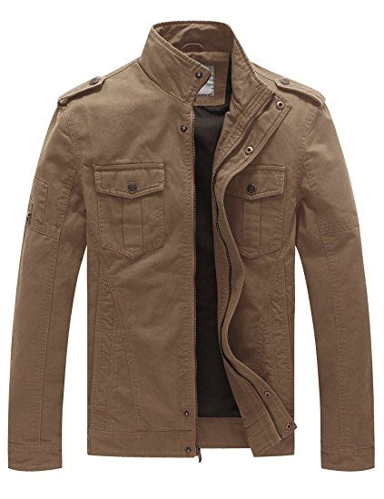 WenVen Men's Casual Cotton Military Jacket | Military jacket