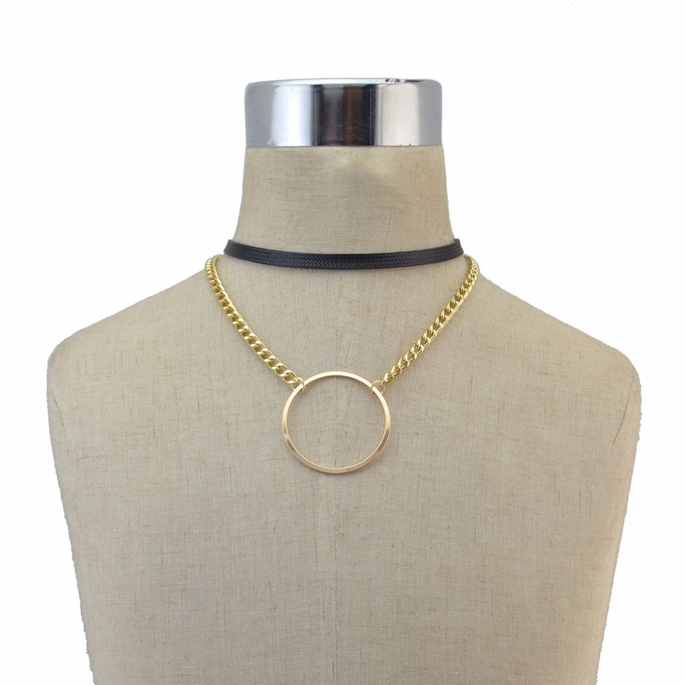 Idealway double layers big circle round pendant leather necklace