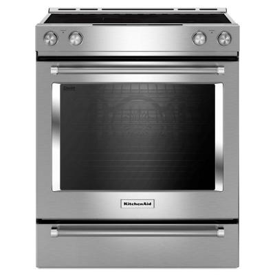 Kitchenaid 7 1 Cu Ft Slide In Electric Range With Self Cleaning Convection Oven In Stainless Steel Kseb900ess The Home Depot Slide In Range Convection Range Kitchenaid Range