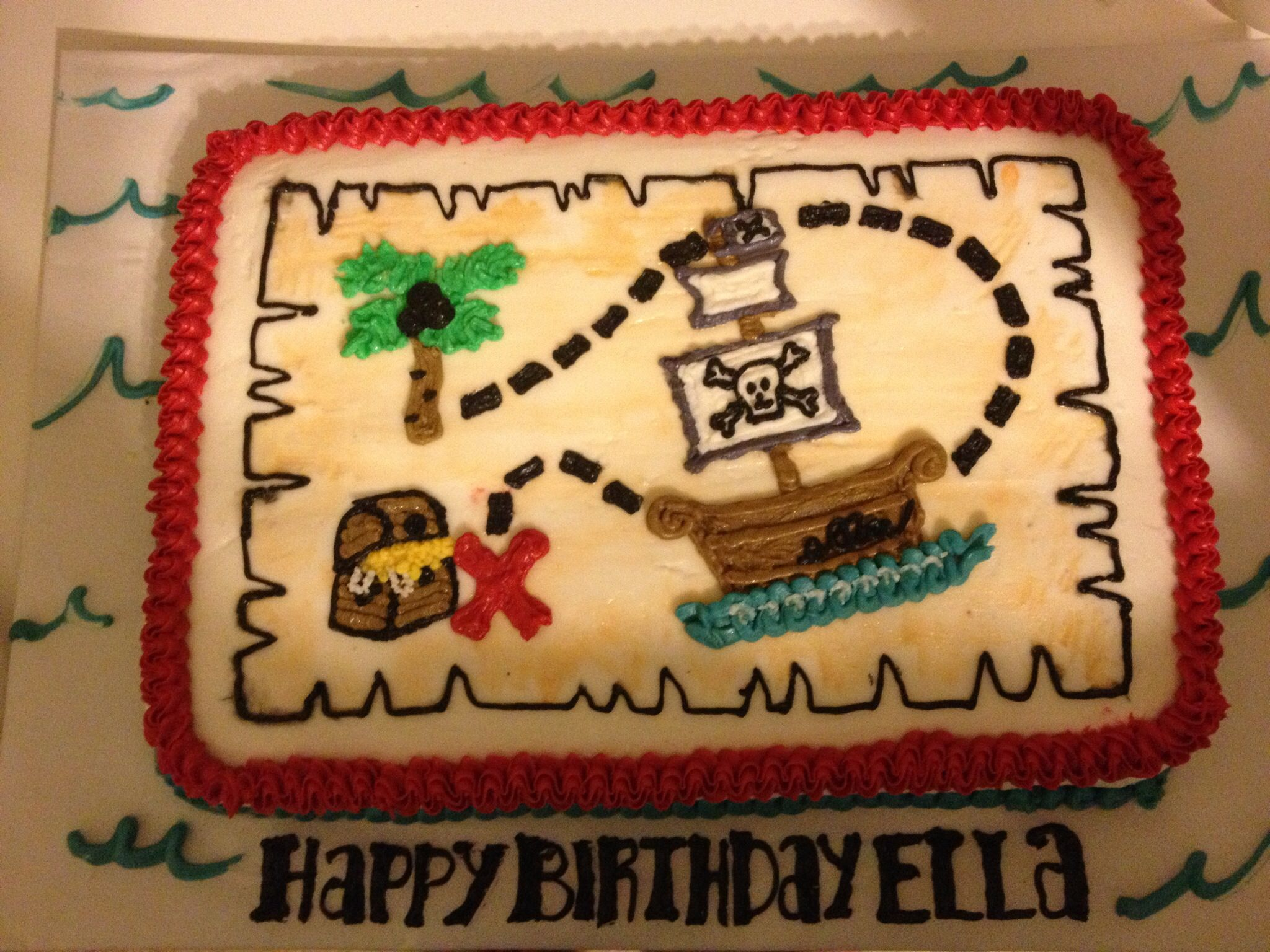 Pirate Party Treasure Map Cake