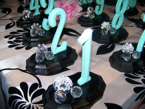 Tabel Numbers : Wedding Black Blue Decor Numbers Reception
