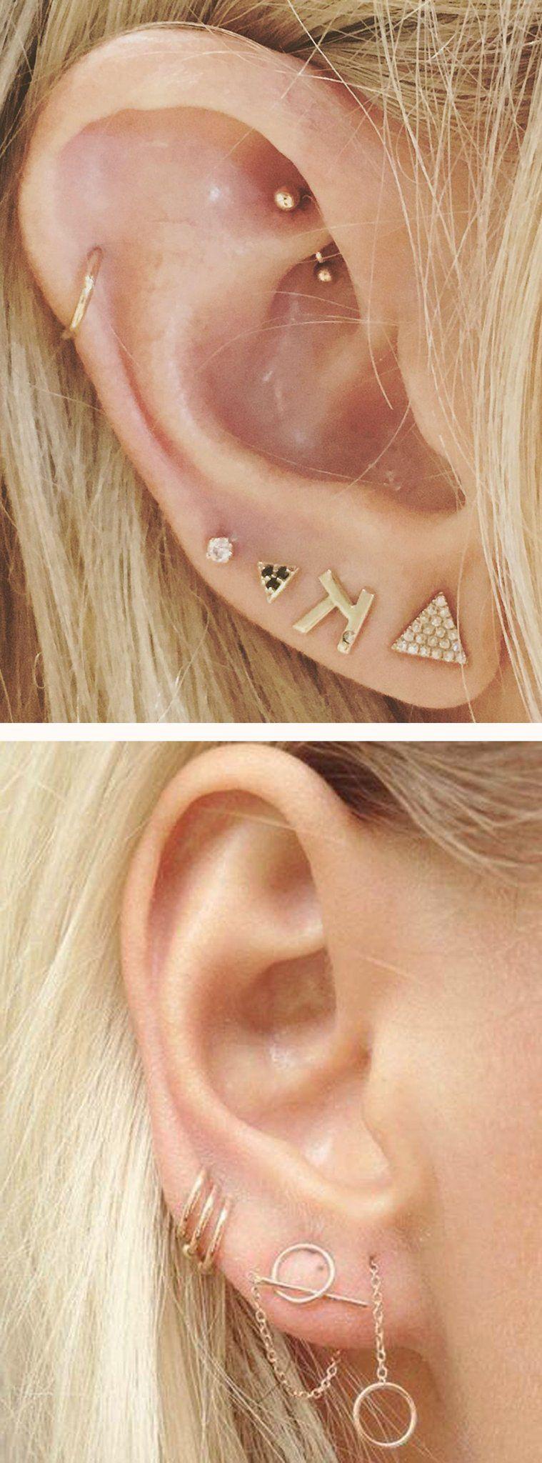 6d2e498ff Dainty Multiple Ear Piercing Ideas Combinations Gold - Cartilage Ring Hoop  Gold - Triple Double Lobe Earring Studs - MyBodiArt.com