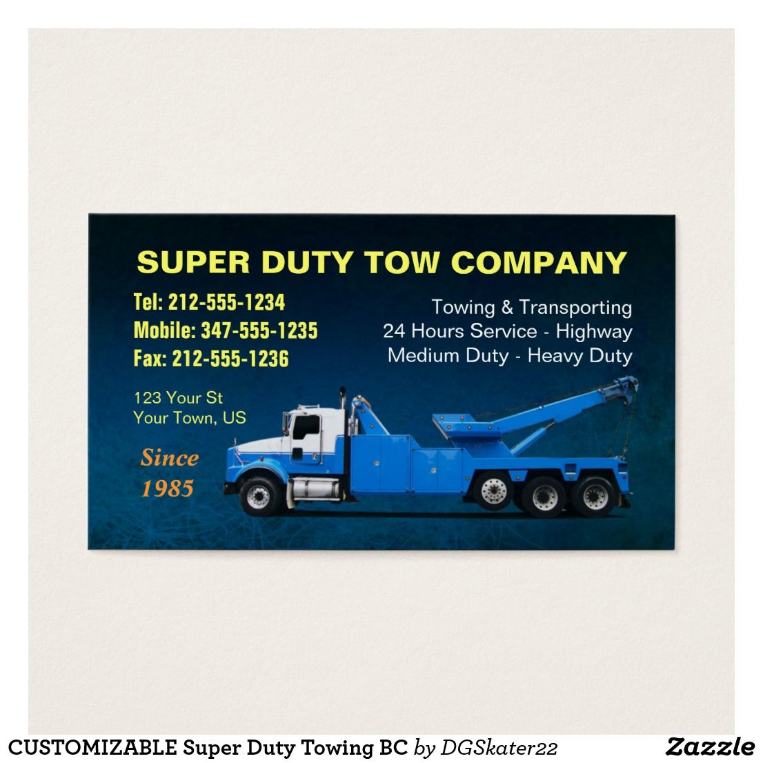 CUSTOMIZABLE Super Duty Towing BC Business Card | Pinterest ...