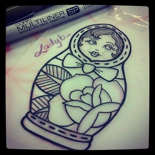 Rose And Matryoshka Doll Outline Tattoo Design