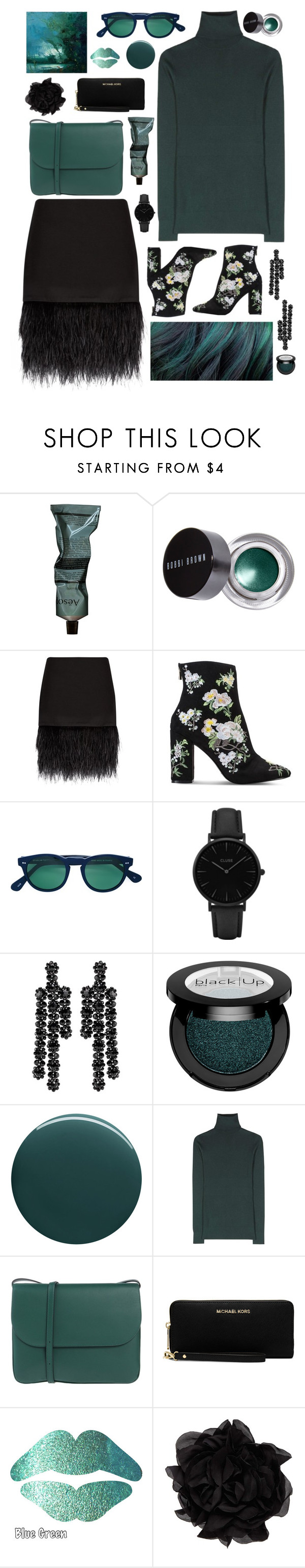 """forest'y"" by agnelija ❤ liked on Polyvore featuring Aesop, Bobbi Brown Cosmetics, Polo Ralph Lauren, Miss Selfridge, Scanlan Theodore, CLUSE, Simone Rocha, Deborah Lippmann, Dolce&Gabbana and Marni"