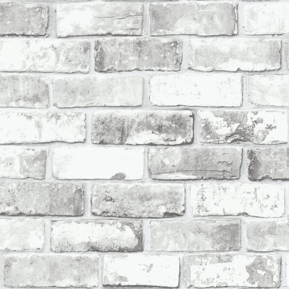 White Brick Wall With Grey Shimmer Tones Effect Faux Feature Wallpaper 6751 Debona Modern