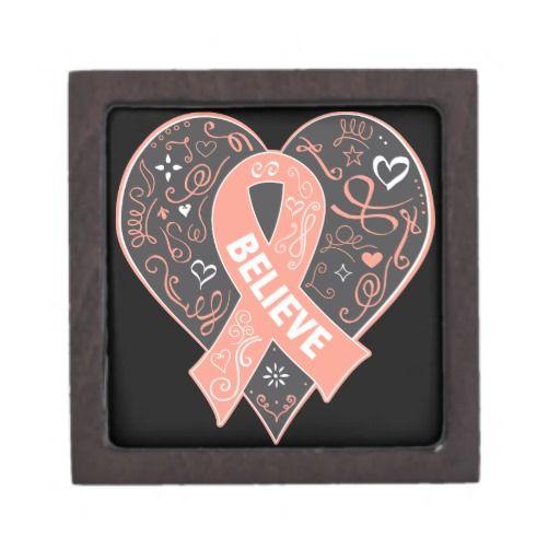 Uterine Cancer Believe Ribbon Heart Premium Jewelry Boxes