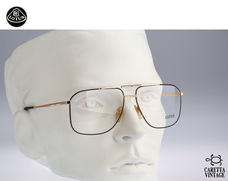Lotus L22 Vintage 80s Black And Gold Oversized Square Aviator Vintage Eyeglasses Frames Mens Glasses Frames Men Eyeglasses