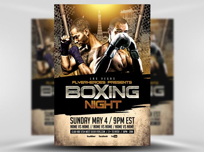 Boxing Night 2 Flyer Template 1 Flyer Templates Pinterest