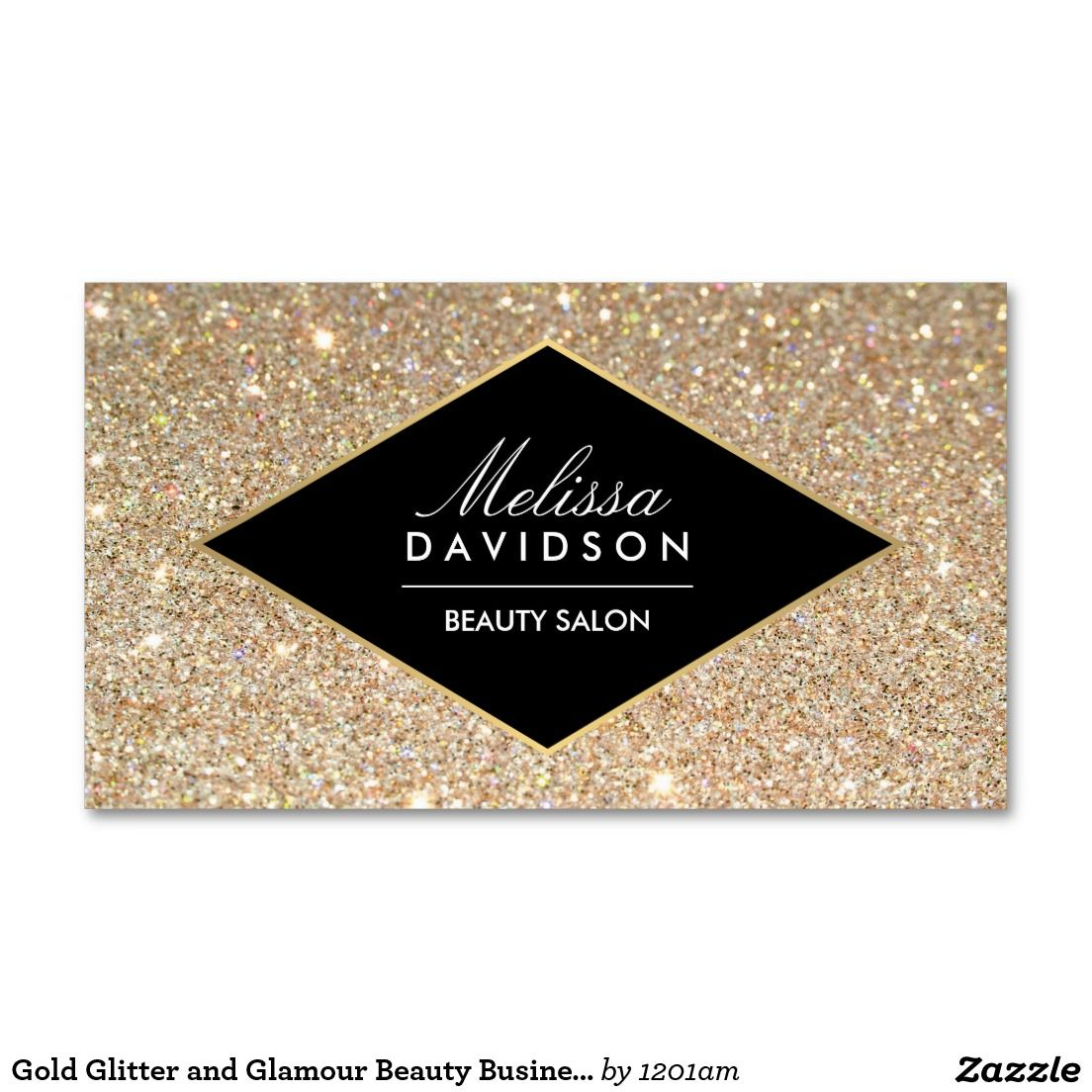 Gold Glitter and Glamour Beauty Business Card | Tarjetas ...