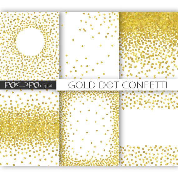85 X 11 Gold Dot Confetti Digital Paper Invitation Template Overlay