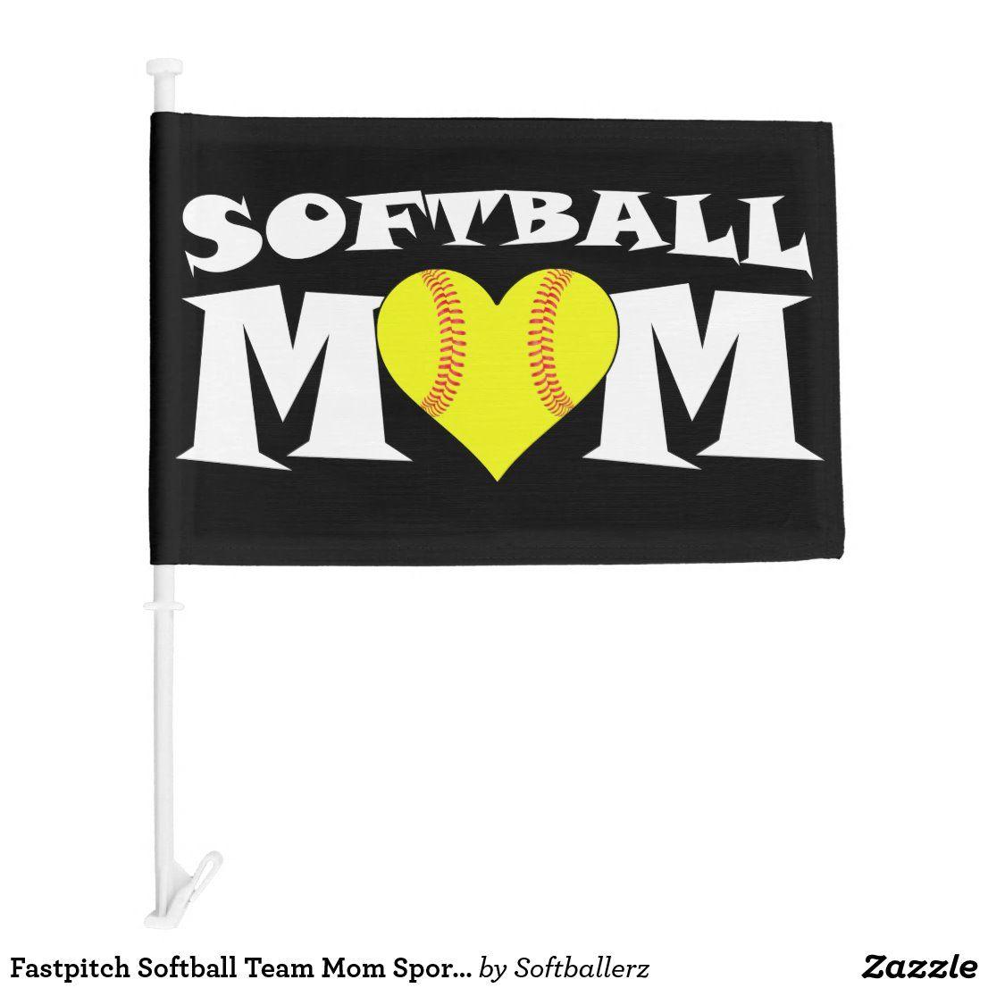 Fastpitch Softball Team Mom Sports Car Flag